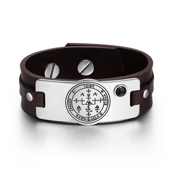 Archangel Uriel Sigil Magic Powers Amulet Simulated Black Onyx Adjustable Brown Leather Bracelet