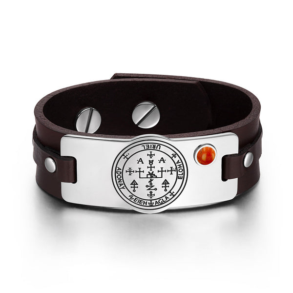 Archangel Uriel Sigil Magic Powers Amulet Red Jasper Gemstone Dark Brown Leather Bracelet