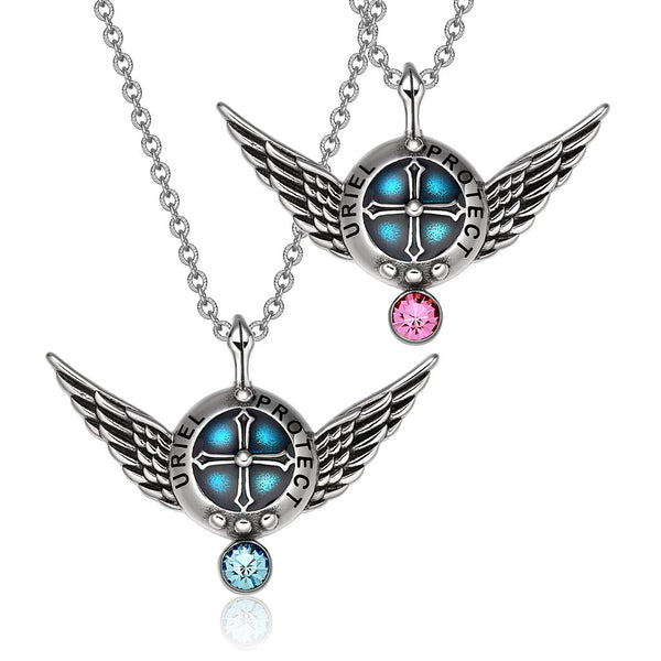 Angel Wings Archangel Uriel Love Couples or Best Friends Set Shield Amulet Pendant Necklaces
