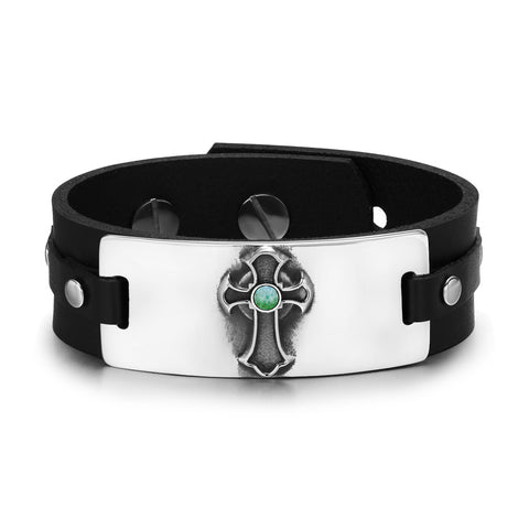 Ancient Celtic Viking Cross Protection Amulet Green Quartz Gemstone Adjustable Leather Bracelet