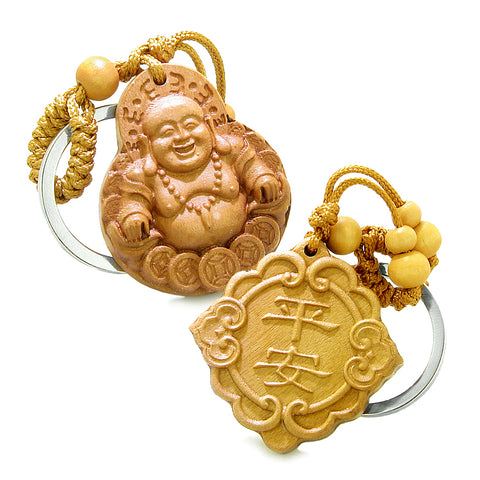 Happy Buddha and Good Luck Feng Shui Symbols Double Lucky Powers Set Key Chains