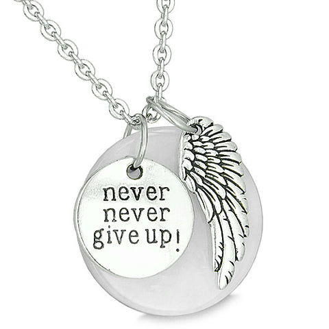 Angel Wing Inspirational Never Never Give Up Couples Best Friends Amulets Onyx Jade Necklaces