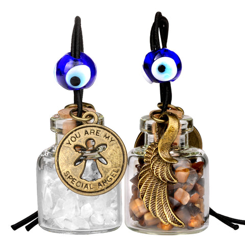 Guardian Angel Wings Magic Powers Small Car Charms Home Decor Gem Bottles Tiger Eye Quartz Amulets