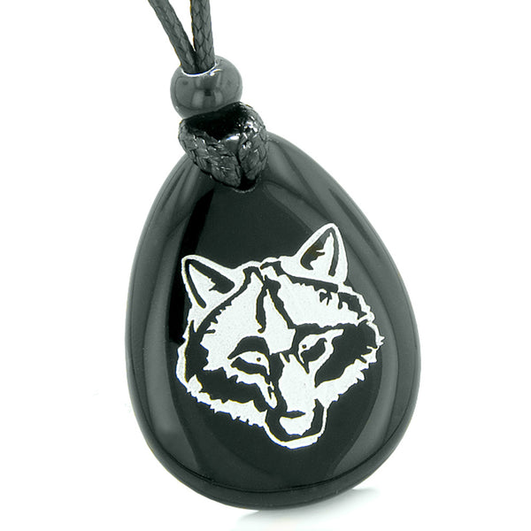 Amulet Courage and Wise Wolf Head Spiritual Protection Powers Black Agate Wish Totem Pendant Necklace