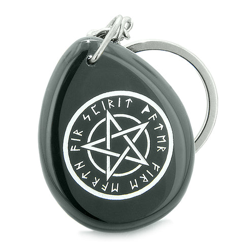Amulet Magical Pentacle Runic Star Powerful Defense Spiritual Control Onyx Totem Keychain Ring