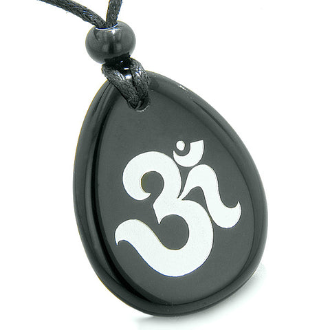 Amulet Ancient OM Tibetan Symbol Magic and Spiritual Powers Black Onyx Wish Totem Pendant Necklace