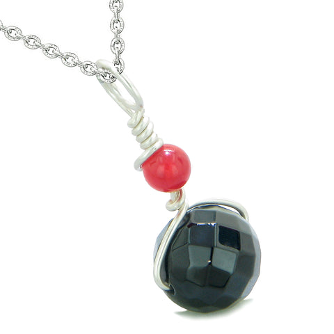 Double Lucky Wish Bead Amulet Faceted Black Onyx Red Quartz Lucky Charm Pendant 18 Inch Necklace