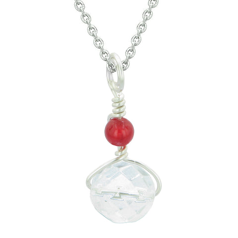 Double Lucky Wish Bead Amulet Faceted Crystal and Red Quartz Lucky Charm Pendant 22 Inch Necklace