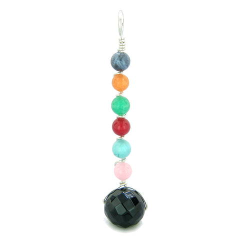 Chakra Wish Bead Amulet Faceted Black Onyx Colorful Gemstones Lucky Charm Pendant 18 Inch Necklace