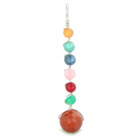 Chakra Wish Bead Amulet Faceted Carnelian Colorful Gemstones Lucky Charm Pendant 22 Inch Necklace