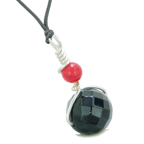 Double Lucky Wish Bead Amulet Faceted Black Onyx Red Quartz Lucky Charm Pendant Adjustable Necklace