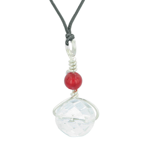 Double Lucky Wish Bead Amulet Faceted Crystal and Red Quartz Lucky Charm Pendant Adjustable Necklace