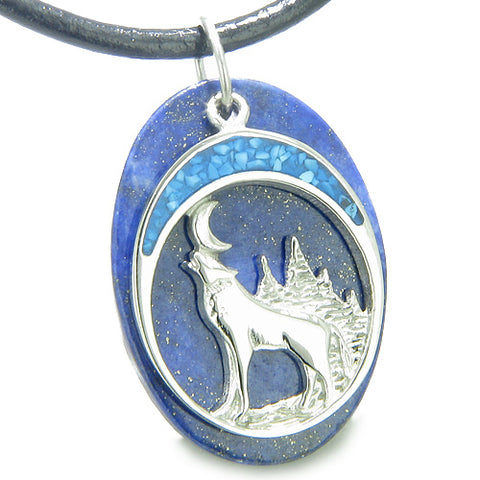 Howling Wolf Moon Amulet Good Luck Powers Lapis Lazuli Gemstone Pendant Leather Cord Necklace