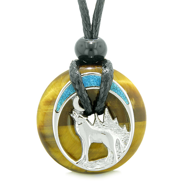 Unique Magic Howling Wolf Moon Amulet Lucky Donut Tiger Eye Spiritual Protection Powers Necklace
