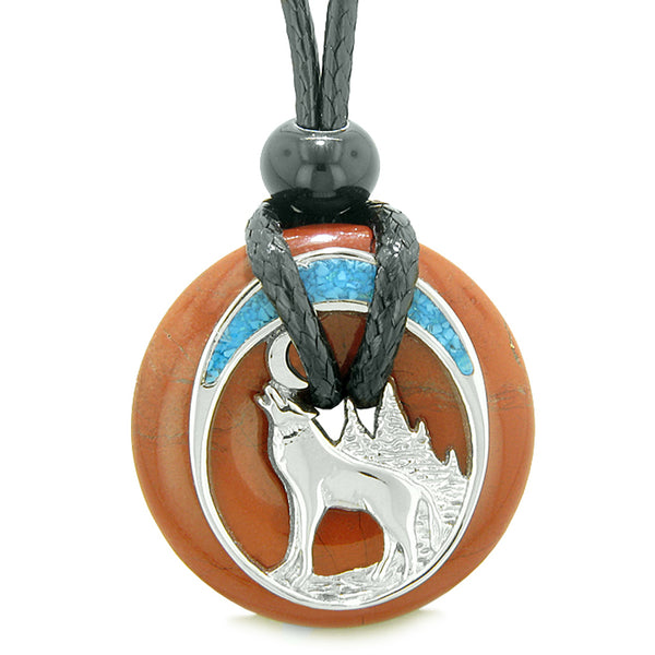 Unique Magic Howling Wolf Moon Amulet Lucky Donut Red Jasper Spiritual Protection Powers Necklace