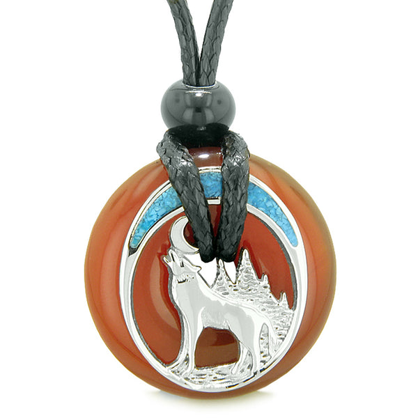 Unique Magic Howling Wolf Moon Amulet Lucky Donut Carnelian Spiritual Protection Powers Necklace