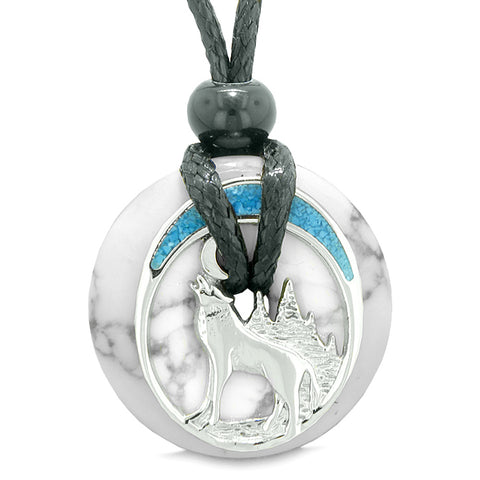 Unique Magic Howling Wolf Moon Amulet Lucky Donut White Howlite Spiritual Protection Powers Necklace