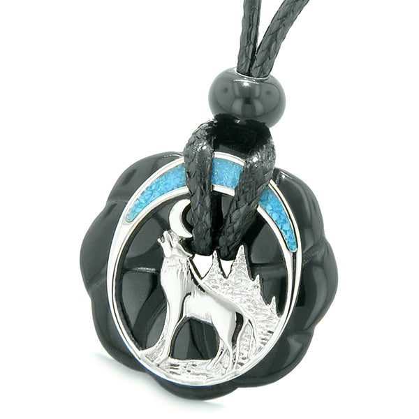 Unique Magic Howling Wolf Moon Amulet Lucky Celtic Donut Black Agate Spiritual Protection Powers Necklace