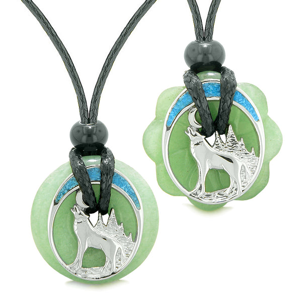 Unique Howling Wolf Moon Amulet Lucky Donuts Love Couples or Best Friends Set Green Quartz Necklaces