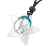 Unique Howling Wolf Moon Super Star Amulets Black Agate White Simulated Cats Eye Love Couples Necklaces