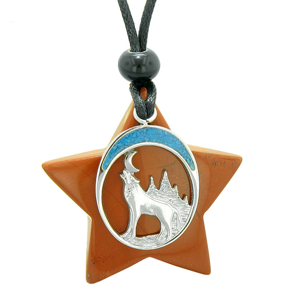 Unique Howling Wolf and Moon Super Star Amulet Protection Magic Powers Red Jasper Necklace