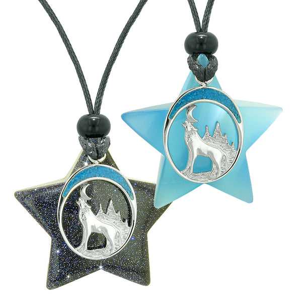 Unique Howling Wolf Moon Super Star Amulets Goldstone Blue Simulated Cats Eye Love Couples Set Necklaces