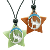 Unique Howling Wolf Moon Super Star Protection Amulets Red Jasper Green Quartz Love Couples Necklaces
