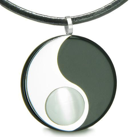 Amulet Magic Circle Yin Yang MedalliDouble Lucky Onyx Cats Eye Amulet Positive Pendant Necklace