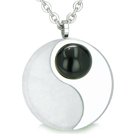 Amulet Magic Circle Yin Yang Medallion Double Lucky Onyx Jade Amulet Positive Pendant Necklace