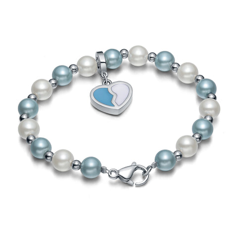 Amulet Positive Powers Simulated Pearl White Sky Blue Heart Yin Yang Magic Energy Elegant Bracelet