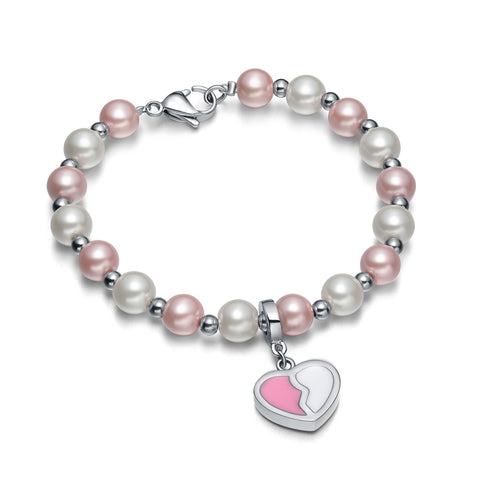 Amulet Positive Powers Simulated Pearl White Cute Pink Heart Yin Yang Magic Energy Elegant Bracelet