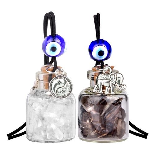 Lucky Elephant Yin Yang Couples Small Car Charms or Home Decor Bottles Smoky Rock Quartz Amulets