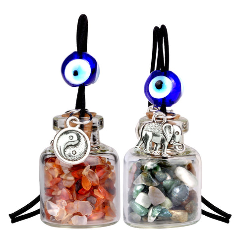 Lucky Elephant Yin Yang Couples Small Car Charms Home Decor Bottles Carnelian Moss Agate Amulets