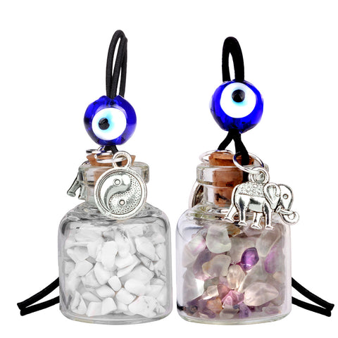 Lucky Elephant Yin Yang Love Couples Small Car Charms Home Decor Bottles Fluorite Howlite Amulets