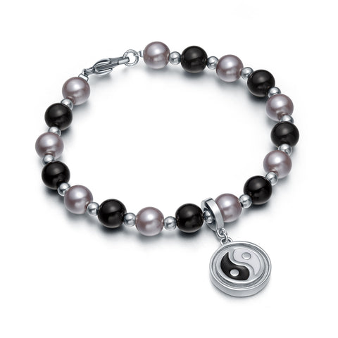 Amulet Positive Powers Simulated Pearl Purple Black Yin Yang Magic Circle Energy Elegant Bracelet