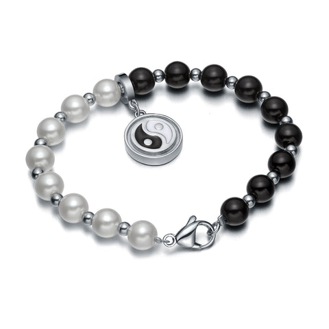 Amulet Positive Powers Simulated Pearl White Black Yin Yang Magic Circle Energy Elegant Bracelet