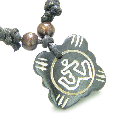 Amulet Original Tibetan OM Lucky Charm Tag Prayer Natural Bone Magic Powers Pendant Necklace