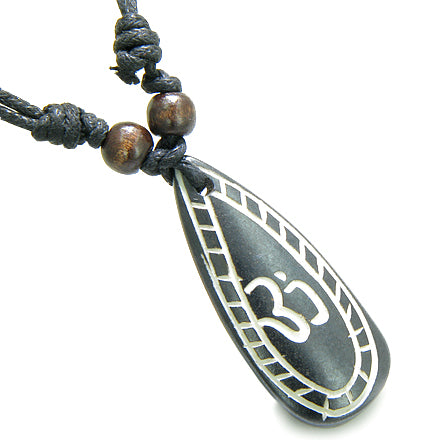 Amulet Original Tibetan OM Tear Drop Tag Prayer Natural Bone Magic Powers Pendant Necklace