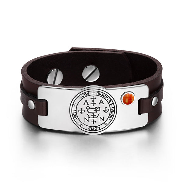 Archangel Zadkiel Sigil Magic Powers Amulet Red Jasper Gemstone Adjustable Brown Leather Bracelet