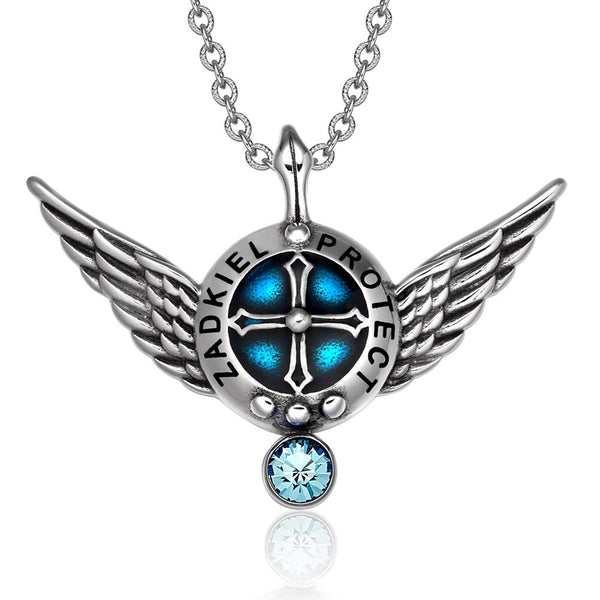 Archangel Zadkiel Angel Wings Shield Protection Magic Power Amulet Pendant Necklace