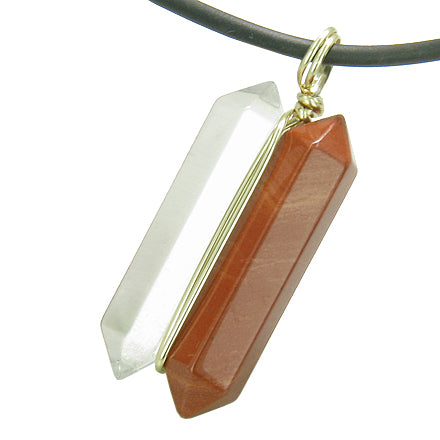 12K Gold Individual Amulet Double Wand Crystal Point Red Jasper Quartz Gemstones Pendant Necklace