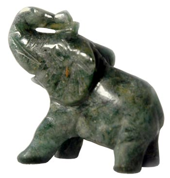 Gemstone Good Luck Charm Elephant Figurine In African Jade