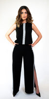 Crepe Two-Piece Jumpsuit with Embroidery #108-18 - H A M A