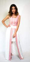 #104-18  White Two-Piece with Embroidery