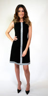 Black Crepe Dress with Embroidery #110-18 - H A M A