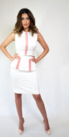 #102-18  White Two-Piece Peplum Dress