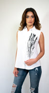 OUT OF STOCK- Button-Up Sleeveless Shirt #SH1-18 - H A M A