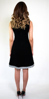 #110-18  Black Crepe Dress with Embroidery