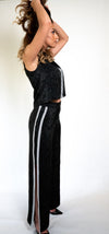 #XXB-18  Limited Edition Silk Two-Piece Jumpsuit with Embroidery