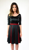 #106-18  Black Inverted Pleat Dress